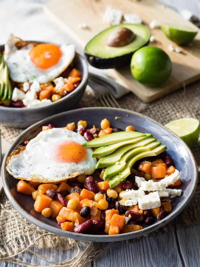 Healthy Breakfast Bowl - Sweet Potatoes and Beans