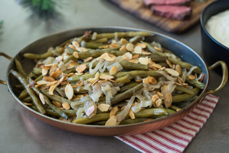 Slow Cooker Green Beans with Shallots and Almonds