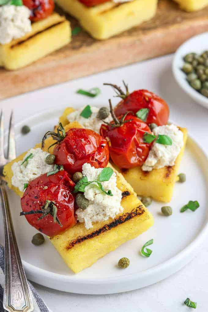 Grilled Polenta with Balsamic Roasted Tomatoes