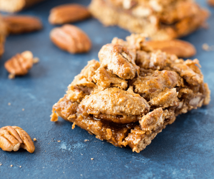 Gluten-Free Pecan Pie Bars with Oatmeal Crust