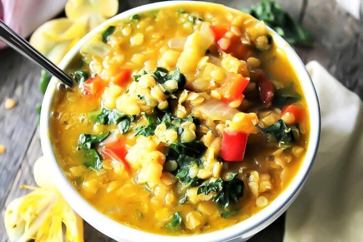 Red Lentil Soup with Pumpkin and Kale
